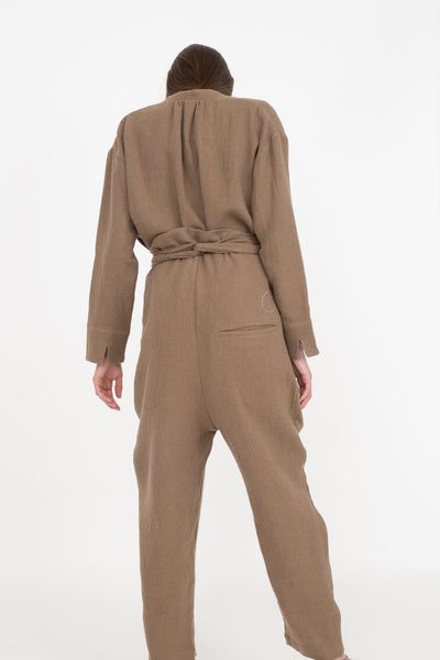Cosmic Wonder Ancient Folk Ramie Linen Wool Wrapped Pants in Beige | Oroboro Store | New York, NY