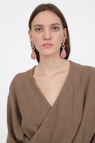 Robin Mollicone Double Stone Earrings in Pink Monochrome and Rhodonite | Oroboro Store | New York, NY