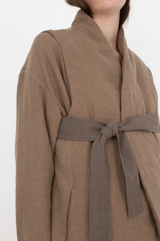 Cosmic Wonder Beautiful Folk Down Haori Vest in Beige | Oroboro Store | New York, NY
