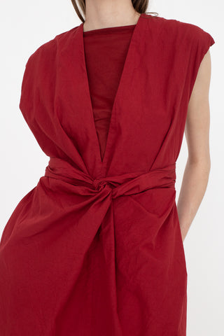 Cosmic Wonder Organic Cotton Ancient Mythic Ceremony Wrapped Dress in Ruby Lotus | Oroboro Store | New York, NY