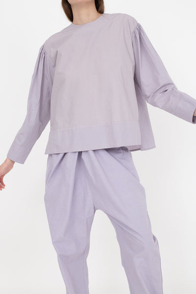 Cosmic Wonder Organic Cotton Meditation Pullover Shirt in Violet Flame, Front View Cropped Below Knee