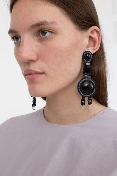 Robin Mollicone Chandelier Earrings in Onyx and Quartz | Oroboro Store | New York, NY
