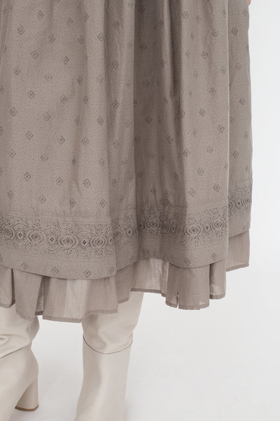nest Robe Cotton Silk French Wallpaper Print Skirt in Light Grey | Oroboro Store | New York, NY