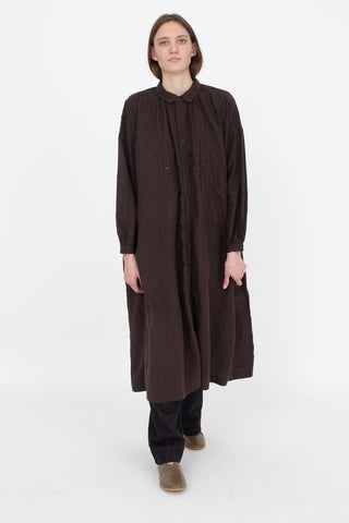 nest Robe High Thread Count Linen Smock Dress in Brown, Front View Full Body, Oroboro Store, New York, NY