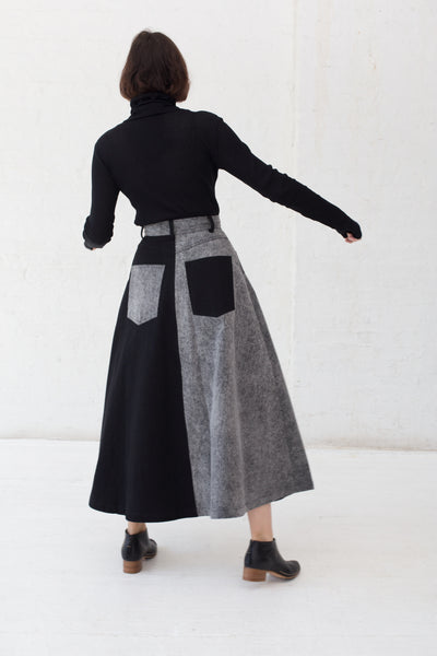 69 Cow Person Skirt in Black/Acid Wash | Oroboro Store | New York, NY