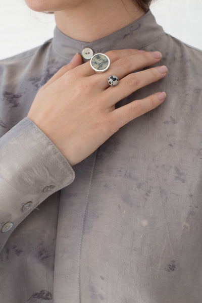 Quarry Jaspe Double Ring in Silver / Serpentine Jasper and Dalmation Jasper | Oroboro Store | New York, NY