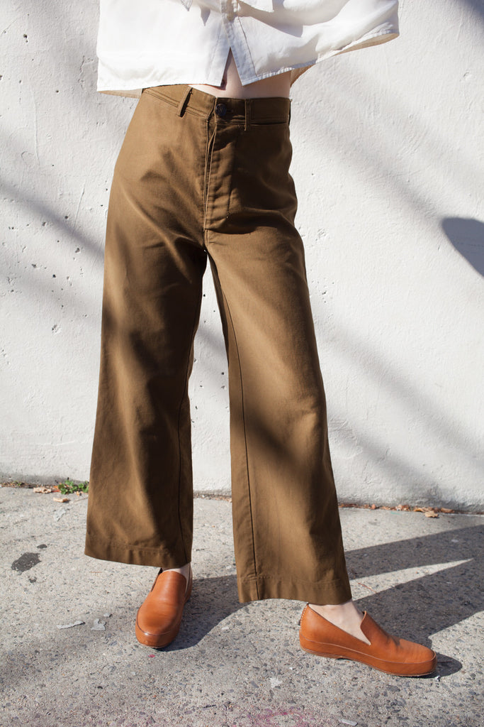 Caron Callahan Stewart Pant in Cognac Cotton Twill | Oroboro Store | Brooklyn, New York