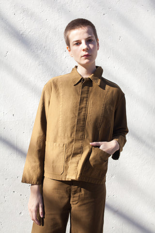 Caron Callahan Krasner Jacket in Cognac Twill | Oroboro Store | Brooklyn, New York