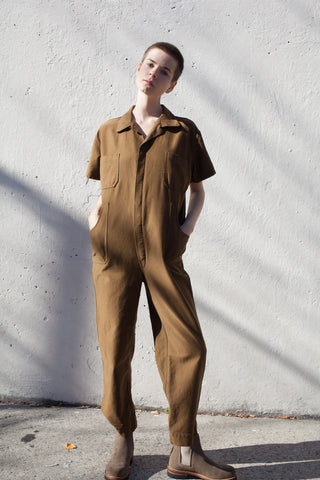 Caron Callahan Crawford Jumpsuit in Cognac | Oroboro Store | Brooklyn, New York
