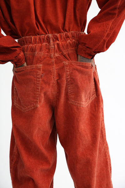 Dr. Collectors P40 Z-Boys Corduroy Pant in Oil Rust back patch pockets