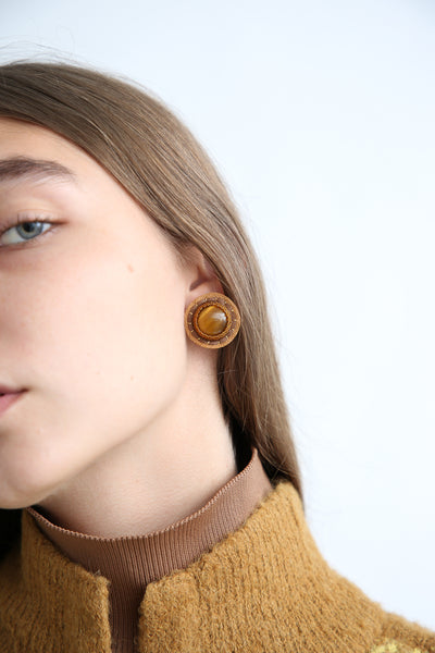 Robin Mollicone Button Earrings in Tiger Eye on model view