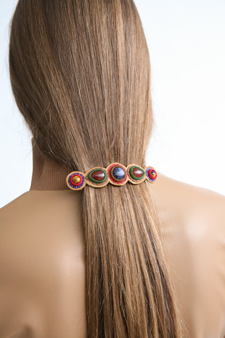 Robin Mollicone 5 Stone Barrette in Sodalite/Carnelian/Tiger Eye on model view