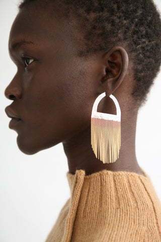 Hannah Keefe Sunrise Hoops in Brass/Silver on model view