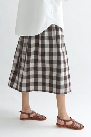 Ichi Skirt - Cotton/Linen in Brown Gingham side