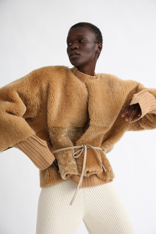 Milena Silvano Teddy Cropped Jacket Limited in Biscuit on model view front