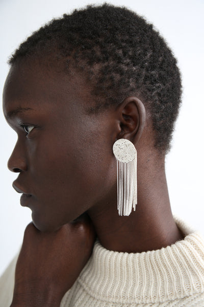 Hannah Keefe Dot Earrings in Silver on model view