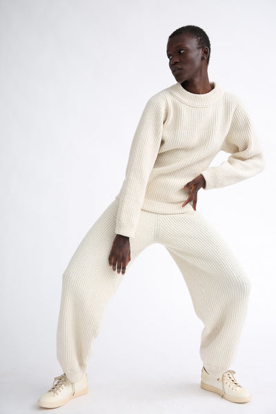 Baserange Tauro Pant in Off-White on model view front