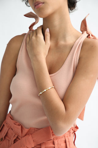 Abby Carnevale Striped Cuff in 14K Gold Plated Brass - White on model view