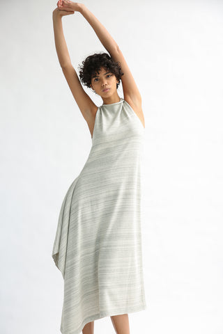 Lauren Manoogian Marl Panel Dress in Marl Stripe on model view front