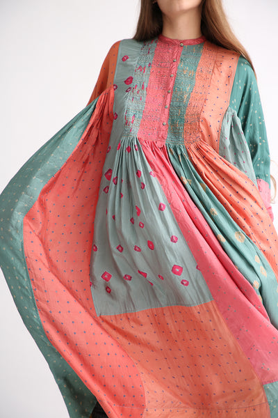 Injiri Silk Dress in Multi embroidery detail