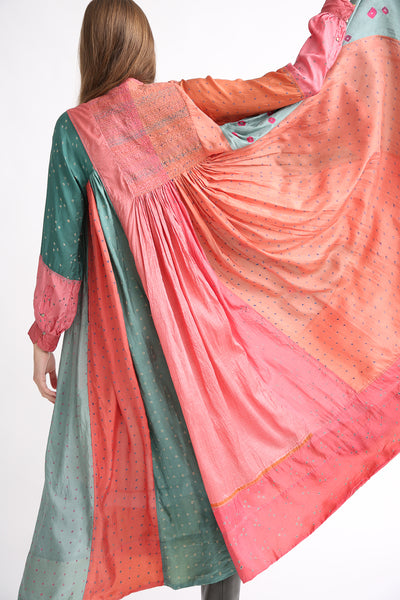 Injiri Silk Dress in Multi back