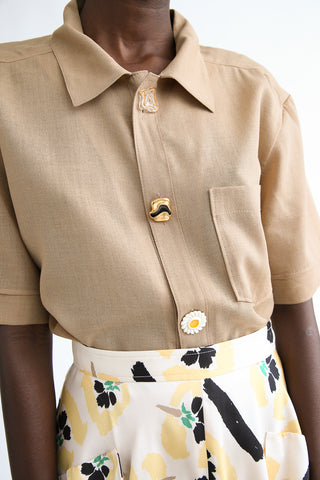 Rejina Pyo Marty Shirt in Beige hand-crafted button detail