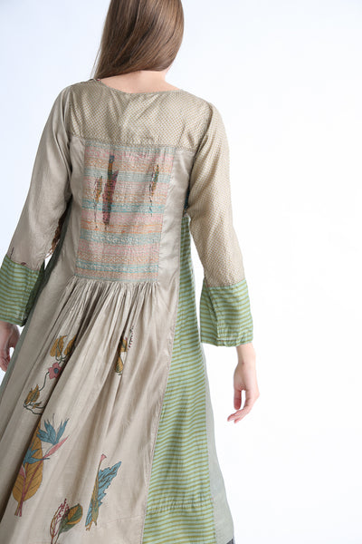 Injiri Silk Dress in Green back