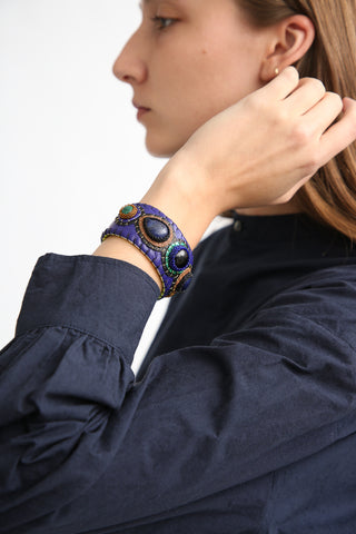 Robin Mollicone Multi Stone Cuff Bracelet in Onyx/Sodalite/Malachite on model view