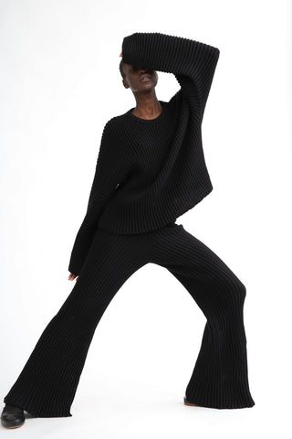 Baserange Macau Pant in Black on model view front