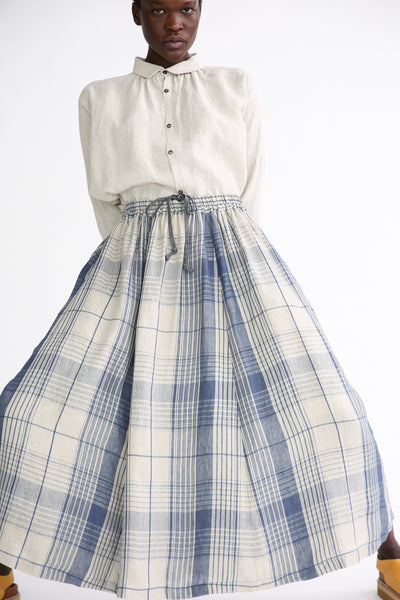 Ichi Antiquites Skirt - Linen in Indigo Natural Check front