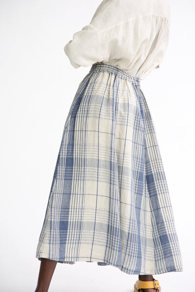 Ichi Antiquites Skirt - Linen in Indigo Natural Check side