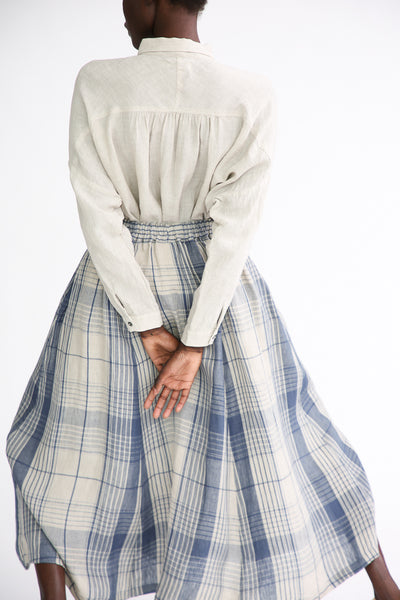 Ichi Antiquites Skirt - Linen in Indigo Natural Check back