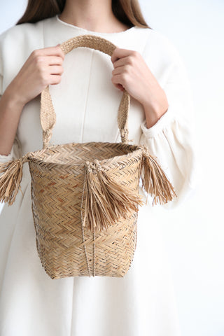 Incausa Kax Kakre Basket By Kayapo People in Natural with Fringe