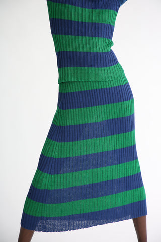 Baserange Dalian Skirt - Linen in Blue Green front skirt view