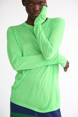 Baserange Long Sleeve Tee - Bamboo Elastic in Ara Green front