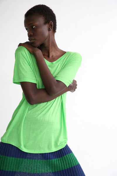 Baserange Loose Tee - Bamboo Elastic in Ara Green on model view front