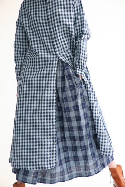 Ichi Dress in Gingham  front skirt layering view