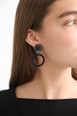 Robin Mollicone Small Beaded Hoop Earring in Black Monochrome/Onyx on model view