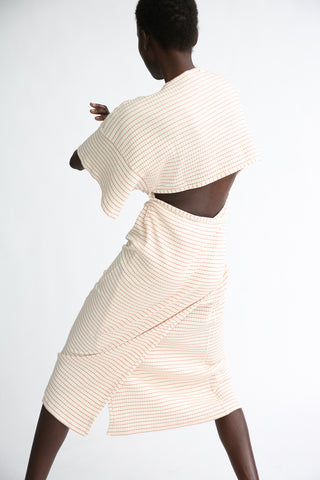 Baserange Clair Dress - Organic Cotton in Red/White Stripe on model view back