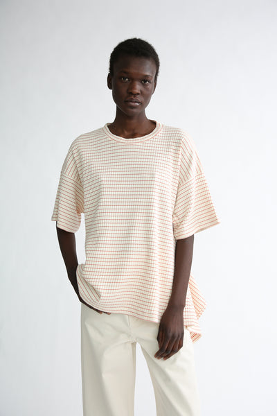 Baserange Shaw Tee - Organic Cotton in Red/White Stripe on model view front