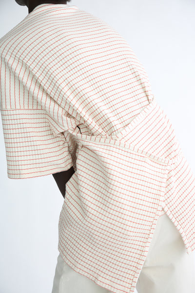 Baserange Shaw Tee - Organic Cotton in Red/White Stripe back wrap detail