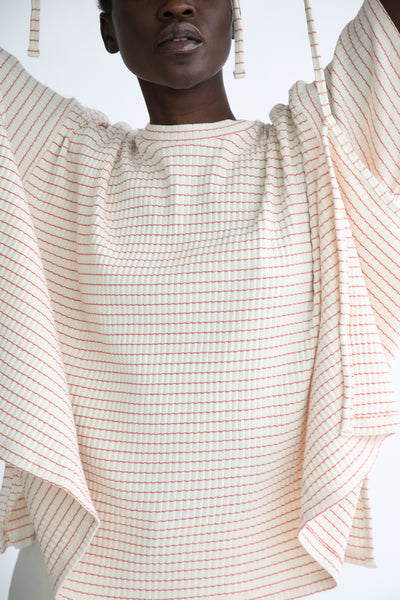 Baserange Shaw Tee - Organic Cotton in Red/White Stripe front fabric detail