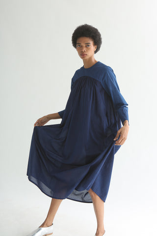 Cosmic Wonder Dress of Light - Cotton in Ryukyu Indigo on model view front