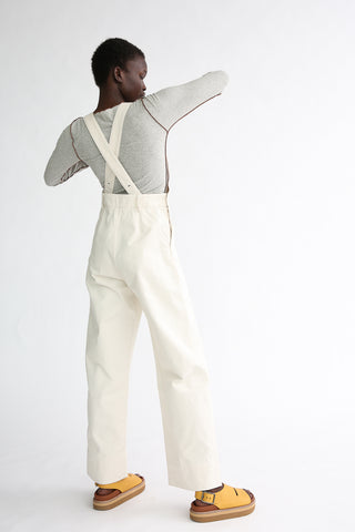 Baserange Navalo Overall - Organic Cotton in Ecru on model view back