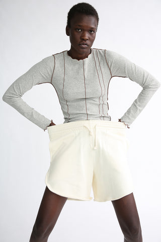 Baserange Sweat Short - Organic Cotton in Off White on model view front