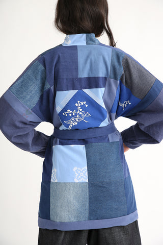 Bettina Bakdal Patchwork Kimono Jacket in Indigo back detail