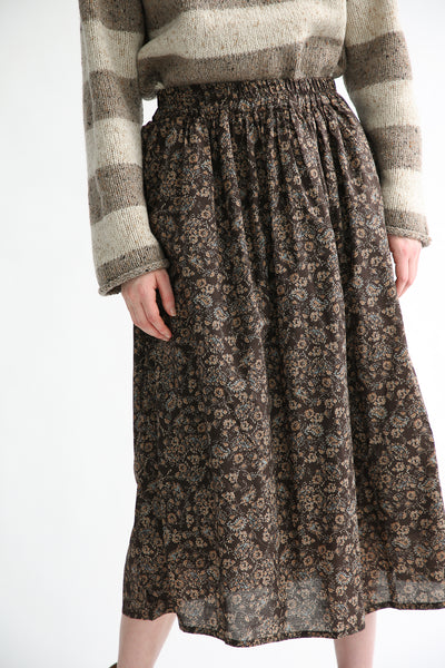 Ichi Skirt in Brown Floral front