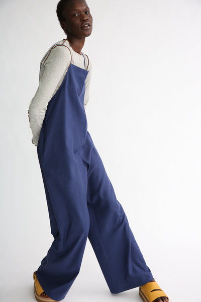 Baserange Yumi Jumpsuit - Silk in Bari Blue side view