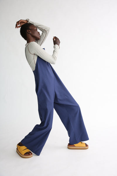 Baserange Yumi Jumpsuit - Silk in Bari Blue on model view front