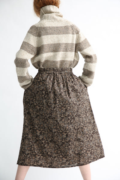 Ichi Skirt in Brown Floral back